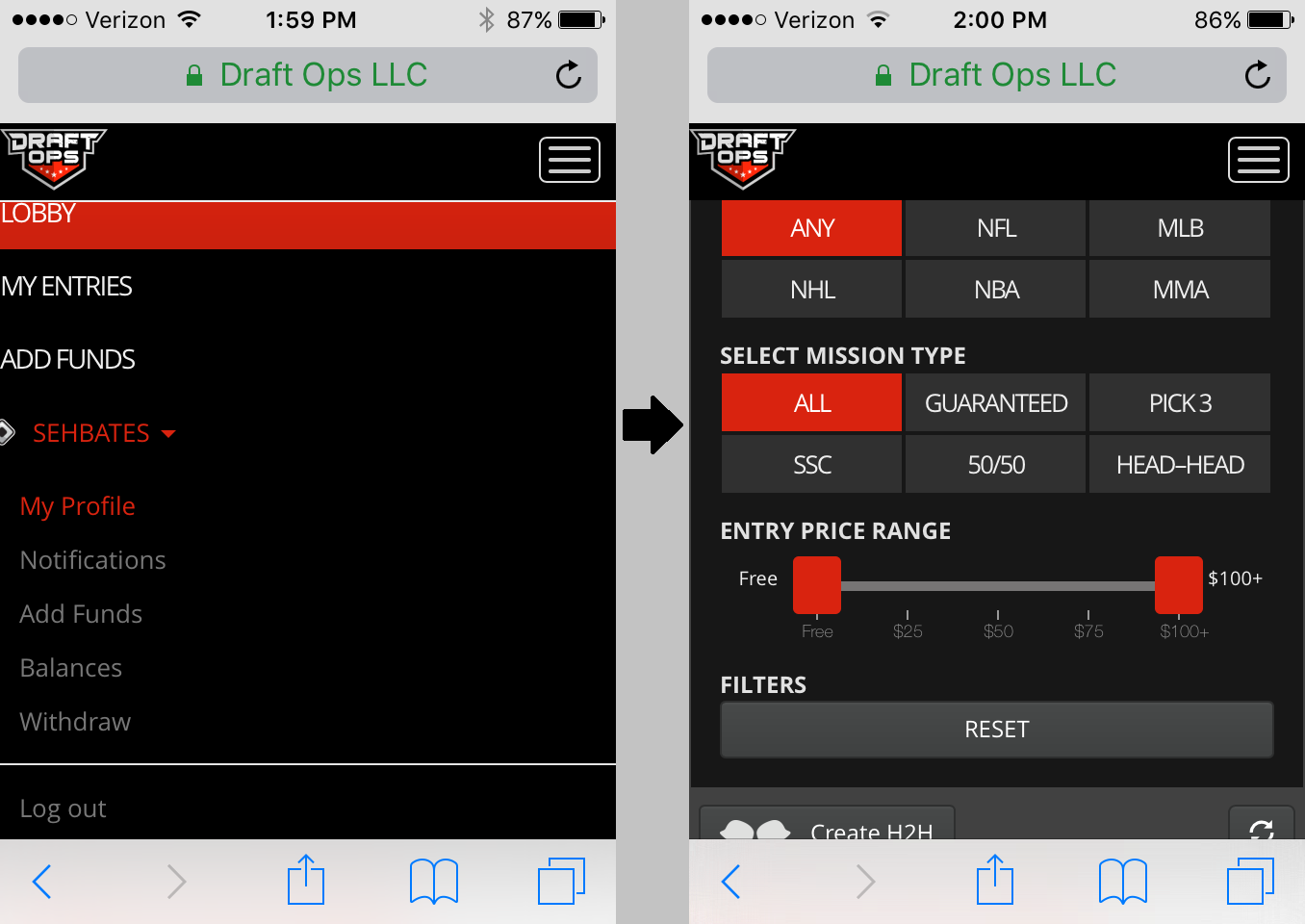draft ops mobile site